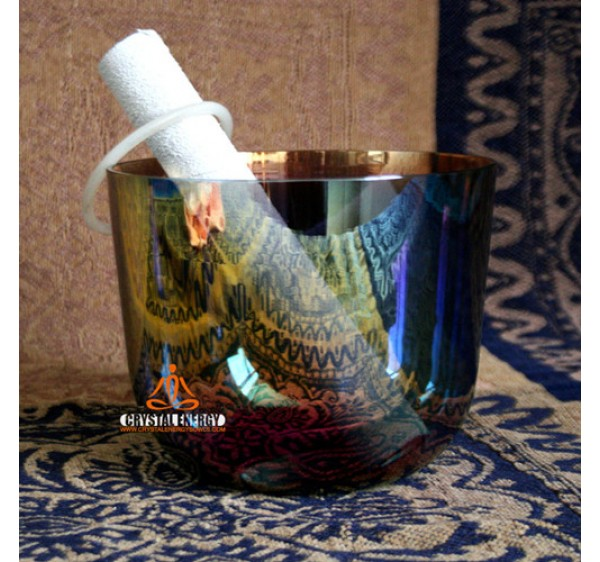 half clear rainbow color crystal singing bowls with perfect notes