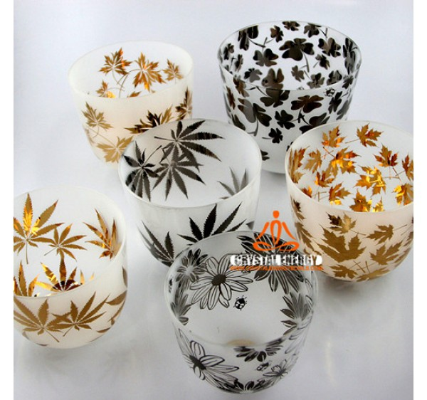 Sand blast golden leaves and platium leaves crystal singing bowl