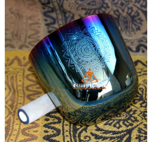 rainbow color crystal singing bowls G note throat chakra
