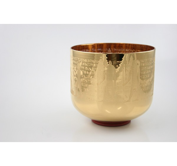 Egypt design golden plated crystal singing bowl 8 inches
