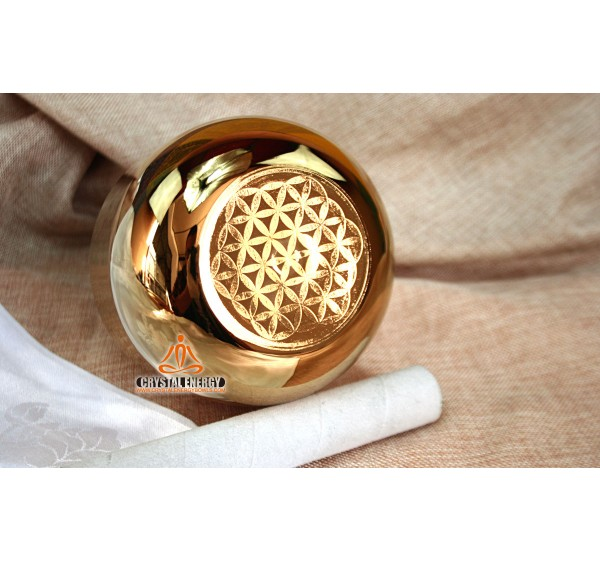 Flower of life golden plated crystal singing bowl 8 inches