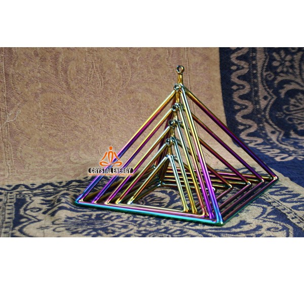 Rainbow color crystal singing pyramid 10 inch
